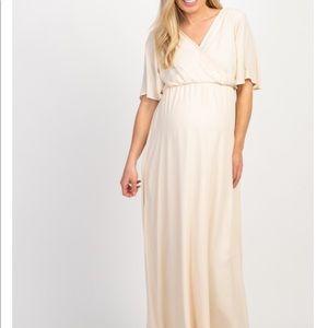 Beige Chiffon Bell Sleeve Maternity Maxi Dress